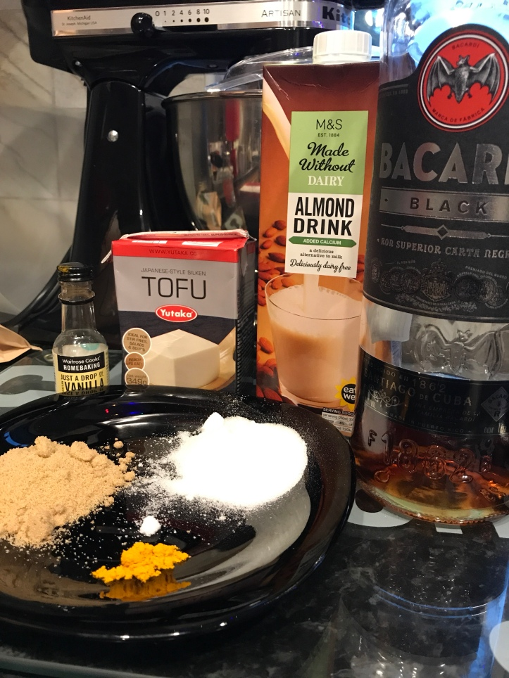 Almond milk Bacardi tumeric brown sugar Yutaka Tofu