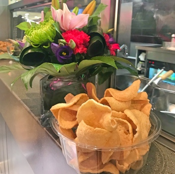 Thai crackers and flower arrangement