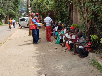 Feeding children at an orphanage Kenya