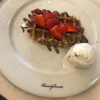 Belgium waffle with strawberries