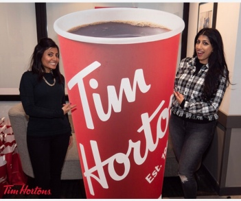 Posing at Tim Hortons