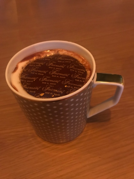 Fairmont Bab Al Bahr hot chocolate