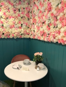 Floral wall at the cafe