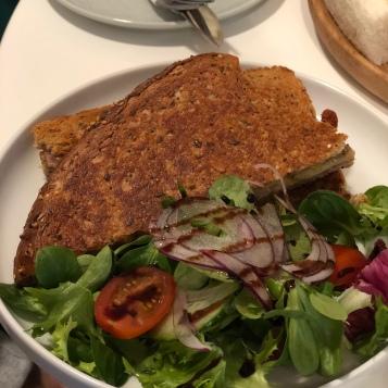 Ham and cheese toastie with panini