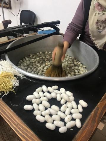 Silk thread in the making
