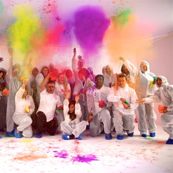 Holi fun in the party pod