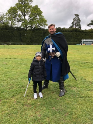 Knight and nephew ready for training