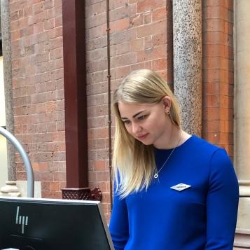 Receptionist at St Pancras Renaissance Hotel