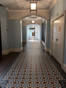 Walkway to rooms St Pancras Hotel