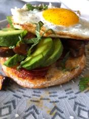 Chorizo with mushroom, avocado and egg